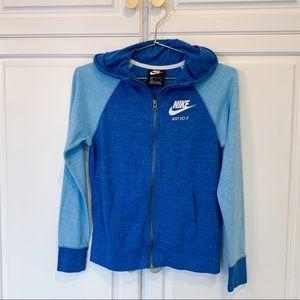 Two Tone Blue Nike Zip Up Sweatshirt Girls L